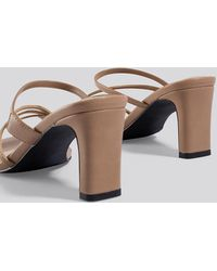 NA-KD Squared Strappy Sandals - Naturel