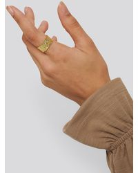 NA-KD Gold Plated Structured Wide Ring - Metallic