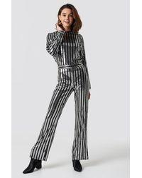 NA-KD Sequin Pants Silver - Black