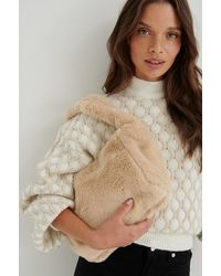 NA-KD Beige Fuzzy Bag - Natural
