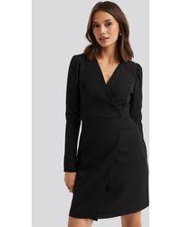 Trendyol - Classic Overlap Mini Dress Black - Lyst