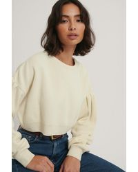 NA-KD Offwhite Puff Sleeve Cropped Knitted Sweater - Multicolor