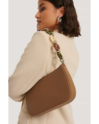NA-KD Brown Chain Detail Baguette Bag