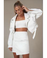 NA-KD White Asymmetric Faux Leather Mini Skirt
