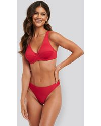 NA-KD Swimwear Ribbed Bikini Panty - Rot