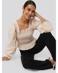 NA-KD - Trend Smocked Balloon Sleeve Blouse - Lyst