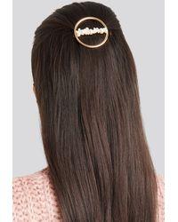 NA-KD Pearl Detail Ring Hairclip White - Metallic