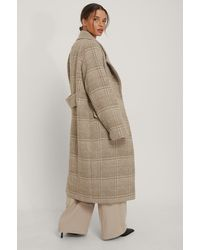NA-KD Beige Checked Oversized Coat - Natural