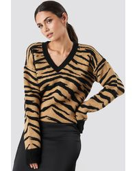 NA-KD Animal Printed V-Neck Knitted Sweater - Multicolore