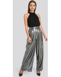 NA-KD Silver High Waist Front Pleat Wide Leg Trousers - Grey