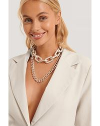NA-KD Double Pack Oversize Chain Necklaces - Metallic