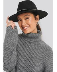 NA-KD Rhinestone Ribbon Fedora Hat - Zwart