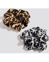 NA-KD 2-pack Coloured Leopard Scrunchies Multicolour