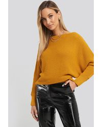NA-KD Off Shoulder Knitted Sweater - Geel