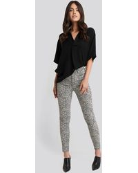 NA-KD Animal Printed High Waist Jeans - Gris
