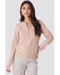 NA-KD Zipper Front Knitted Sweater - Roze
