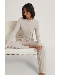 NA-KD Soft Ribbed Wide Basic Pants - Naturel