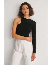 Mango Ausschnitt Einseitig Schulterfreier Sweater - Schwarz