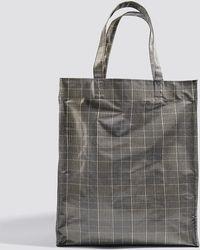 Mango - Check Shopper Bag Grey - Lyst