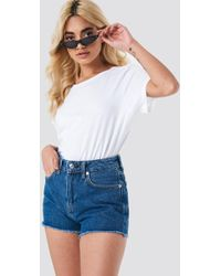 Mango - Frayed Jeans Shorts Open Blue - Lyst