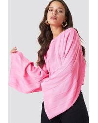 Glamorous - Off Shoulder Long Sleeve Top Candy Pink - Lyst