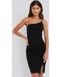 NA-KD Black Asymmetric Strap Short Dress