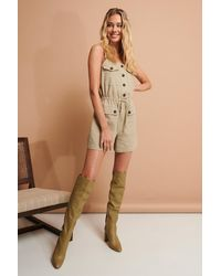 NA-KD Beige Buttoned Playsuit - Natural