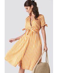 Mango - Striped Bow Dress - Lyst