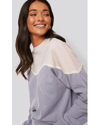 NA-KD Purple Colour Block Sweatshirt