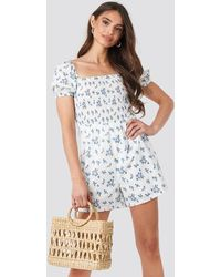 NA-KD Square Neck Shirred Playsuit - Blauw