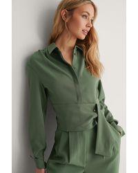 NA-KD Green Draped Shoulder Blouse