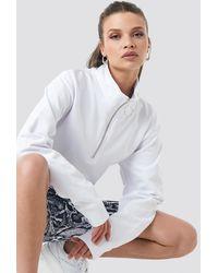 NA-KD Half Zip Pullover - Blanc