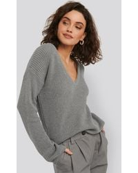 NA-KD - Deep Front V-neck Knitted Sweater - Lyst
