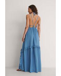 NA-KD By You Maxi-jurk Met Strik Aan De Achterkant - Blauw