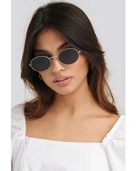 NA-KD Oval Metal Frame Sunglasses - Metallic