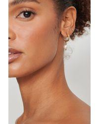 NA-KD Accessories Recyclées créoles dépolies avec pendants perles - Métallisé