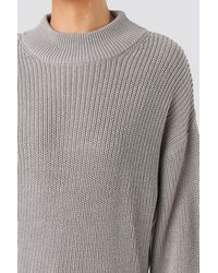 NA-KD Volume Sleeve High Neck Knitted Sweater - Grijs
