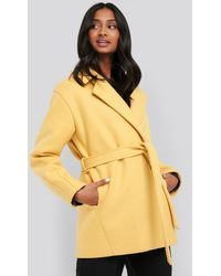 NA-KD Yellow Short Belted Coat