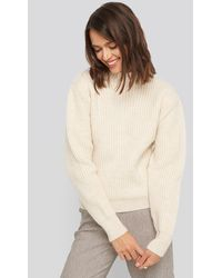 NA-KD - High Neck Ribbed Knitted Sweater - Lyst