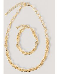 NA-KD Chain Ketting En Armband Met Dubbele Gaten - Metallic