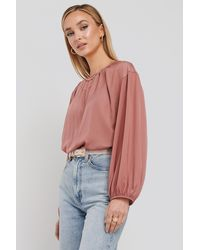NA-KD - Round Neck Peasant Blouse - Lyst