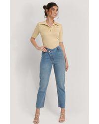 NA-KD Blue High Waist Asymmetric Closure Straight Jeans