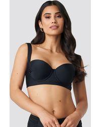 NA-KD Black Wide Strap Bikini Top