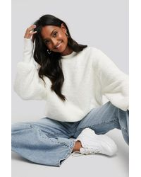 NA-KD White Oversized Teddy Sweatshirt