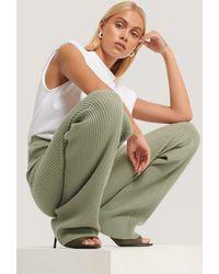 NA-KD Green Knitted Ribbed Pants