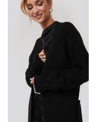 NA-KD Belted Maxi Cardigan Black