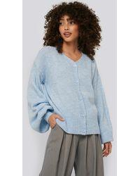 NA-KD Blue Short Chunky Knit Cardigan