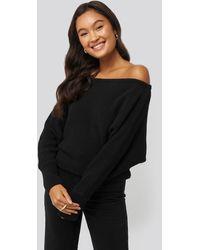 NA-KD Off Shoulder Knitted Sweater - Zwart