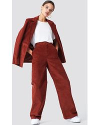 NA-KD Corduroy Suit Pants Brown