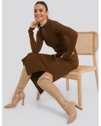 NA-KD Graphic Heel Overknee Boots Beige - Natural